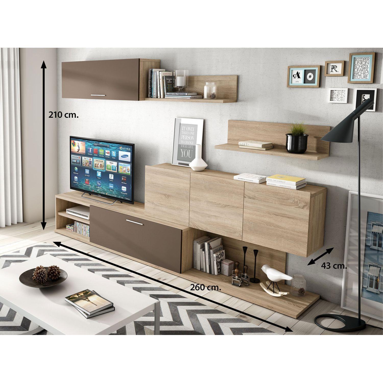 Mueble de sal n econ mico dise o moderno roble moka 260 cm for Mueble salon 240 cm