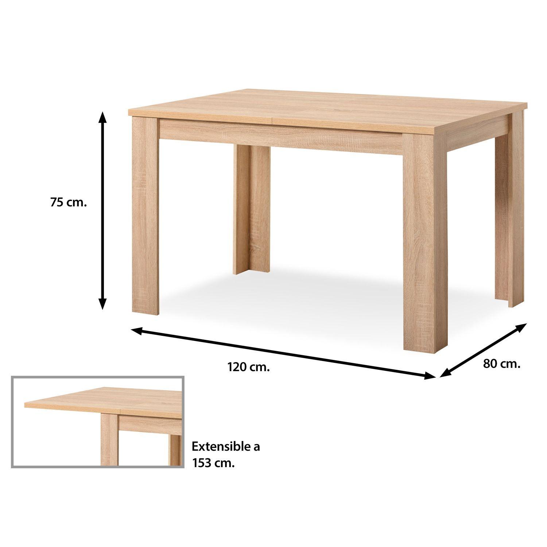 Mesa comedor roble extensible 120 cm (hasta 153 cm) | Ahorro Total