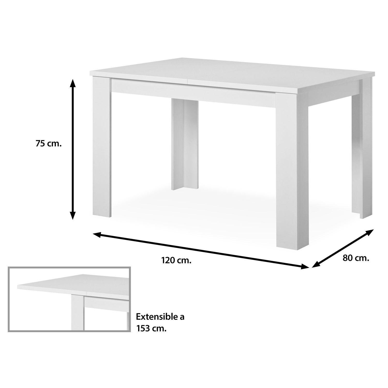 Mesa comedor buen precio 120 cm. blanco extensible 153 cm.