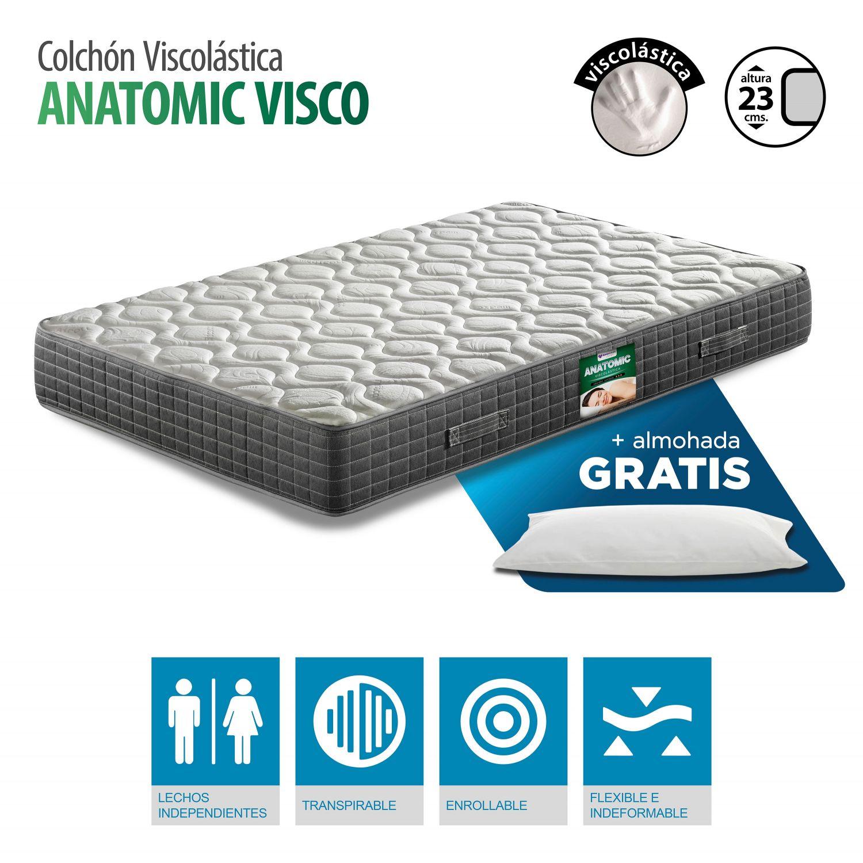 Colchón Viscoelástico gran confort 90x180 con almohada GRATIS. Altura 23cm