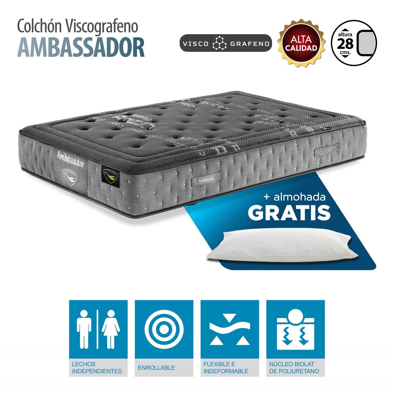 Colchón Viscografeno calidad 90x180 cm con almohada GRATIS. Altura 28 cm