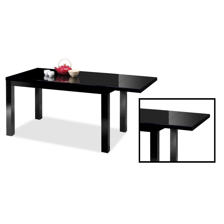 Mesa comedor lacada extensible negro 140 cm for Mesa comedor negra