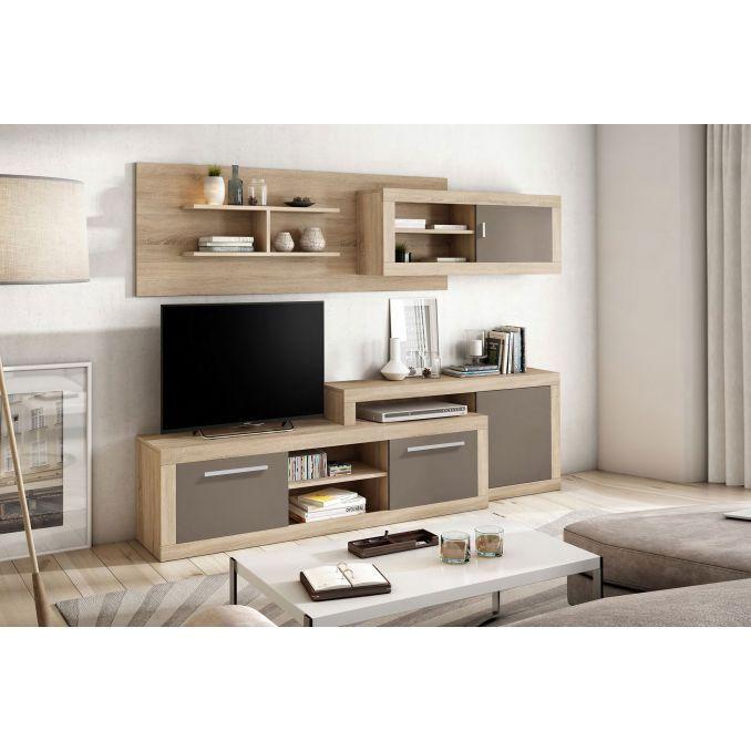 Mueble de salón barato diseño actual 240 cm color roble moka