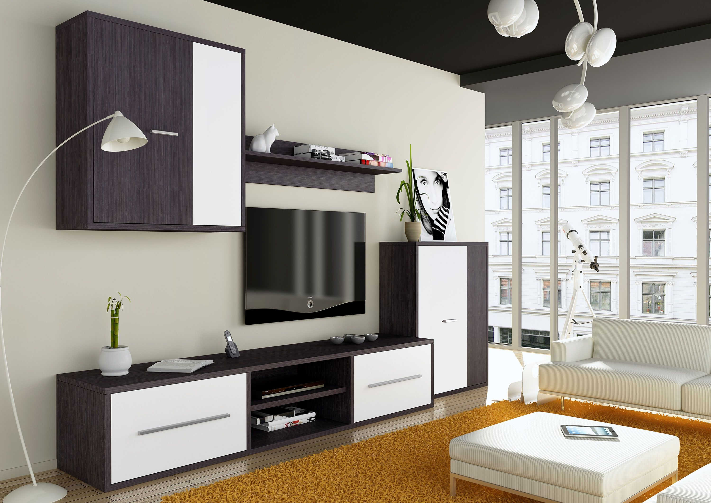 Mueble de salón EL MAS BARATO de estilo moderno 220 cm. Wengué ferrar