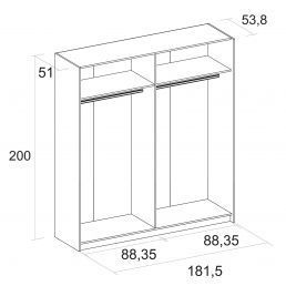 8603A Armario económico diseño moderno 182cm correderas blanco