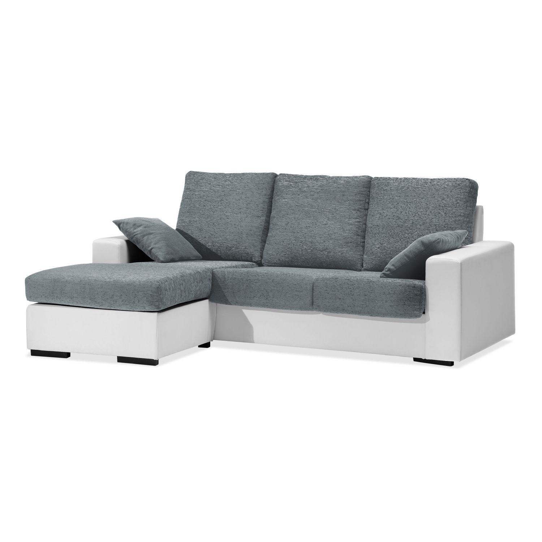Chaise longue actual buen precio blanco gris 220 cm.