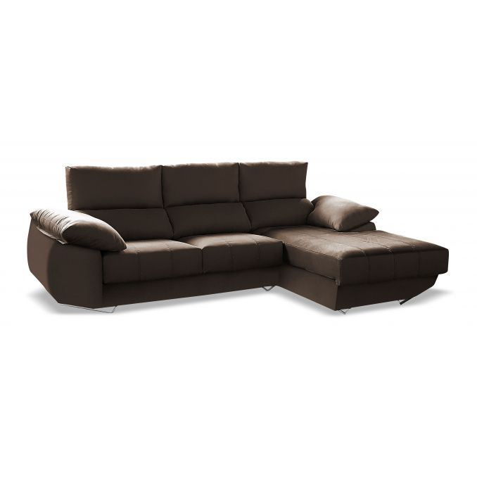 Chaise longue sofá reclinable extensible tela choco antimanchas 287 cm
