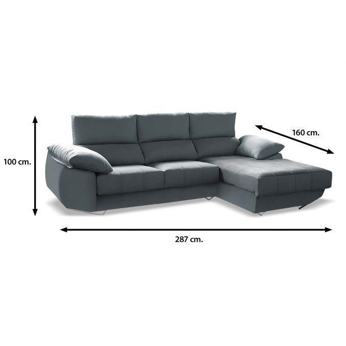 Chaise longue sofá reclinable extensible tela gris antimanchas 287 cm