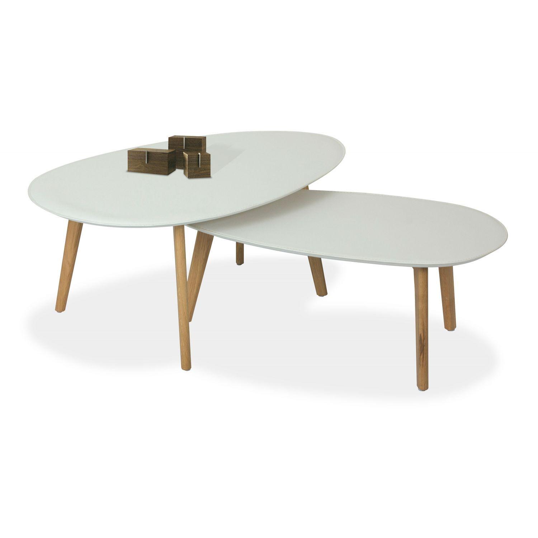 Mesa de centro diseño nórdico (set de 2) en roble y blanco 98 cm Ancho moderno