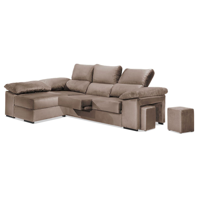 Chaise longue econ mica beige reclinable y extensible con for 2 zitsbank en chaise longue