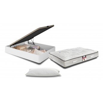 Conjunto canapé 8718D melamina blanco 135X190 + colchón 6359D Visco Premium 135X190