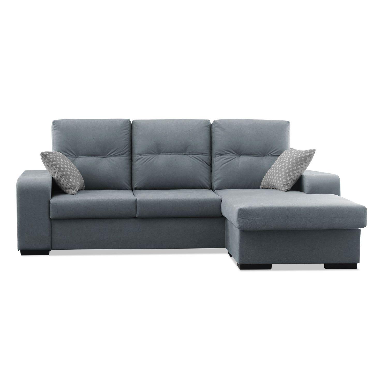 Chaise longue buen precio tejido antimanchas acualine gris for Sofas de calidad a buen precio