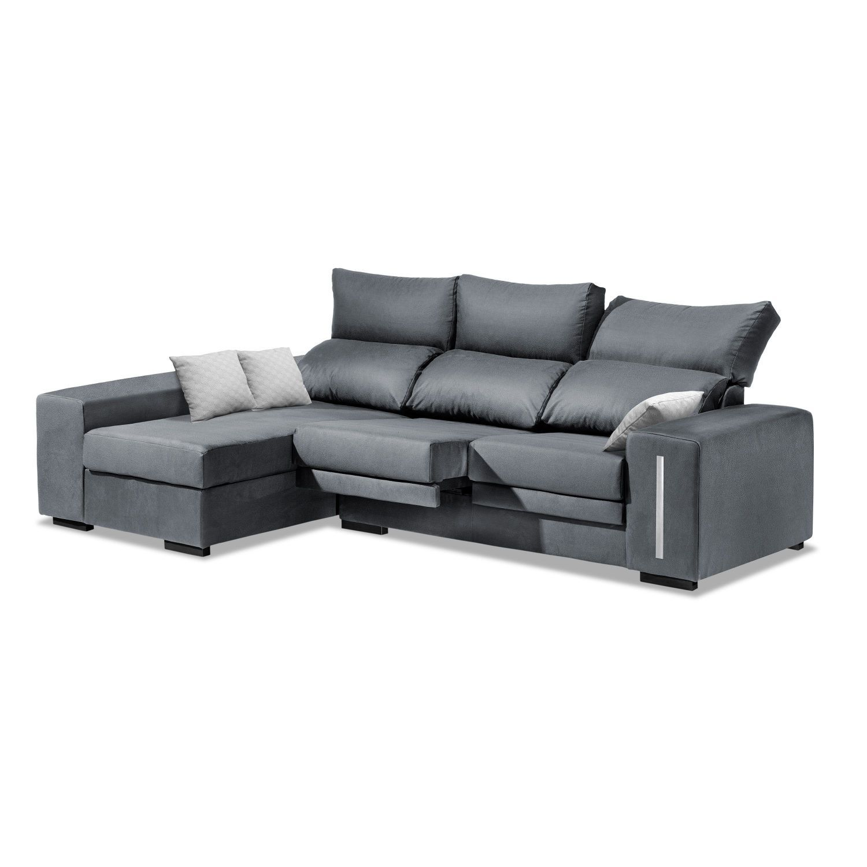 chaise longue barata reclinable extensible gris 228 cm. Black Bedroom Furniture Sets. Home Design Ideas