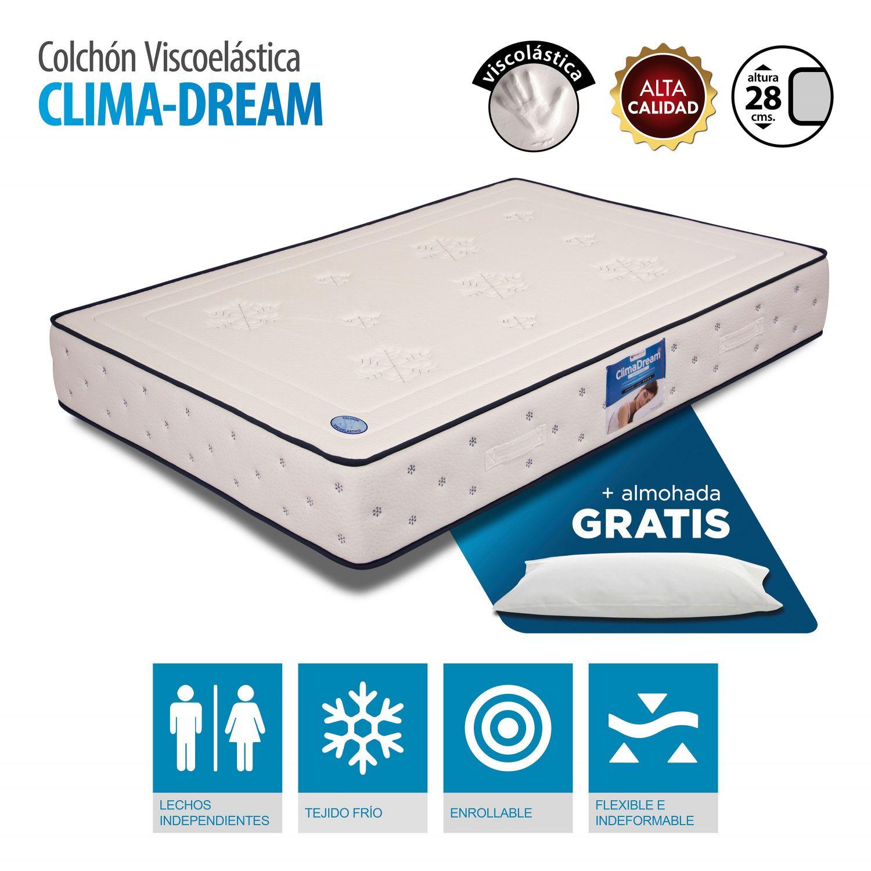 Colchón Climadream termoregulador viscoelástica 90x190 cm. con almohada GRATIS
