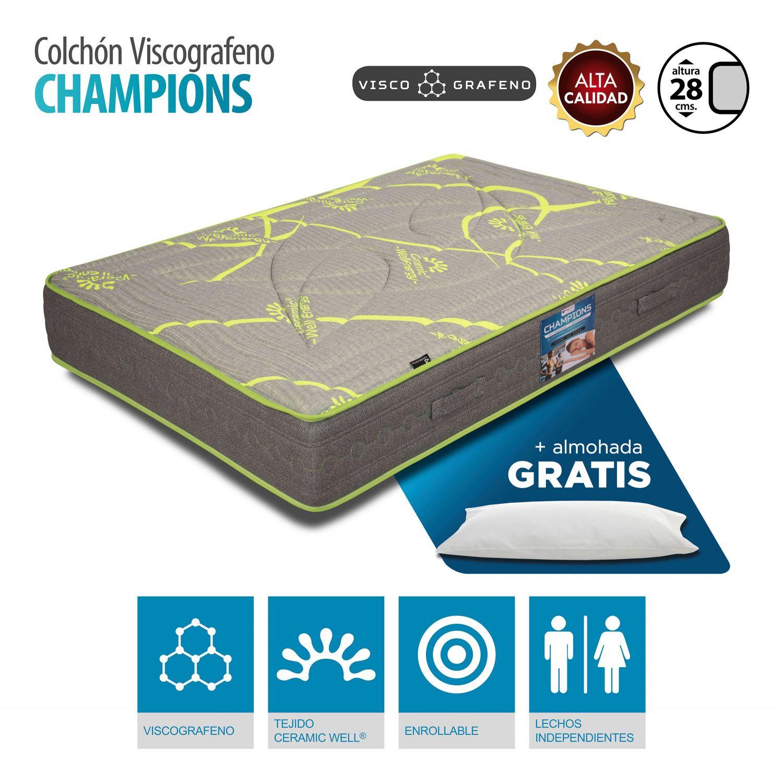 Colchón Champions Viscografeno 150x190 cm. con almohada GRATIS