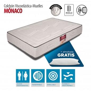 Colchón Mónaco Viscoelástica y muelles 135x190 con almohada GRATIS