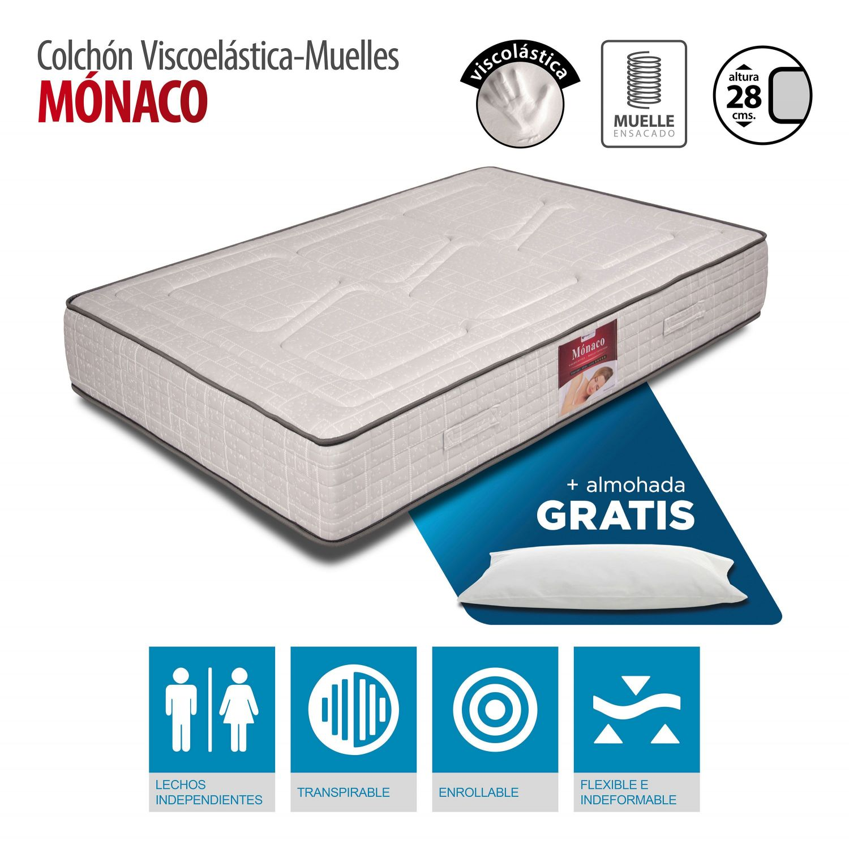 Colchón Mónaco Viscoelástica y muelles 150x190 con almohada GRATIS