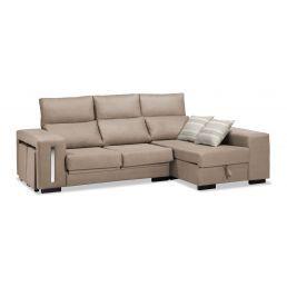 Sofá chaise longue beige reclinable extensible con 2 taburetes. 240 cm.