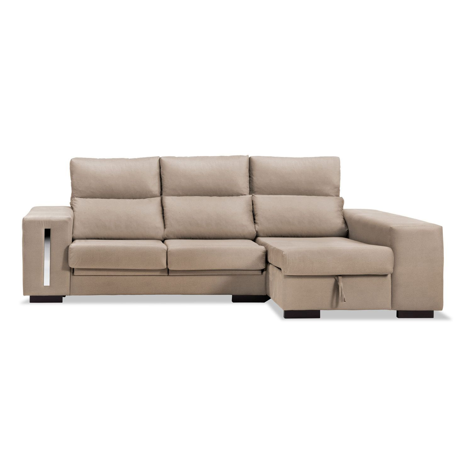 Sof chaise longue beige reclinable extensible con 2 for Sofa 2 plazas extensible