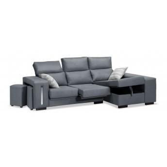 Sofá chaise longue marengo reclinable extensible con 2 taburetes. 240 cm.