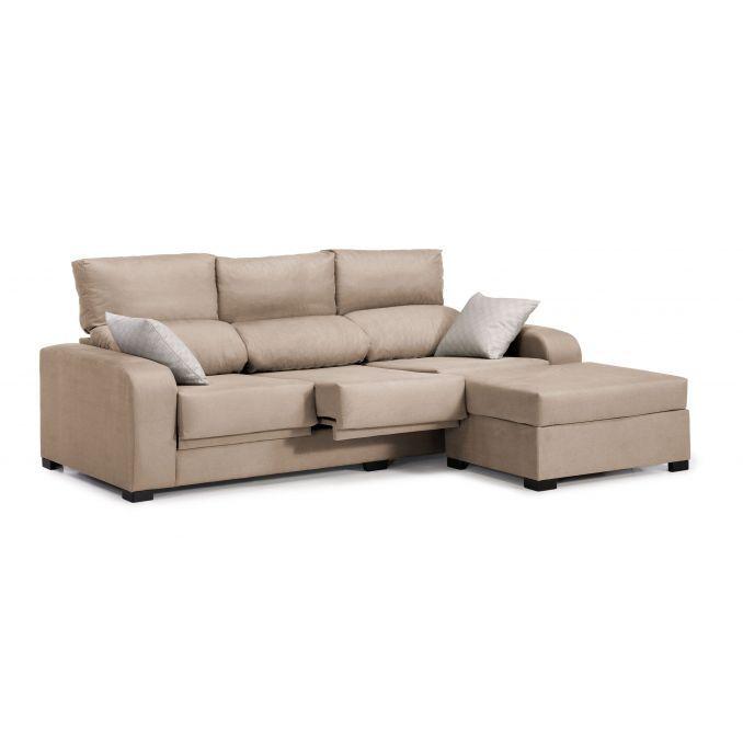 Sofá chaise longue London beige reclinable extensible 220 cm.