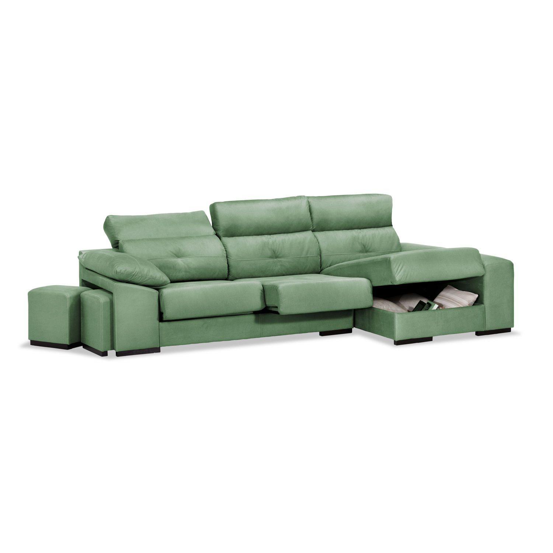 Sofá chaise longue Estrella verde reclinable extensible con dos pufs. 285 cm.
