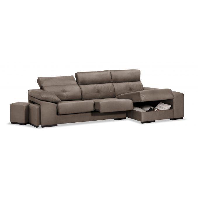 Sofá chaise longue Estrella marrón reclinable extensible con dos pufs y arcón abatible. 285 cm.