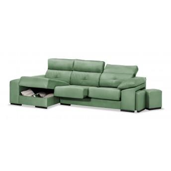 Sofá chaise longue Estrella verde reclinable extensible con dos pufs. 250 cm.