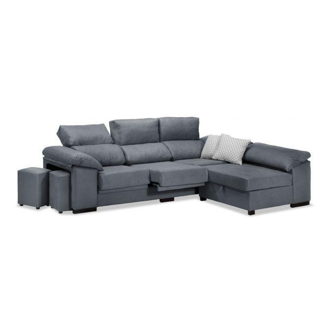 Sofá chaise longue marengo reclinable y extensible con arcón abatible y 2 taburetes. 270 cm.