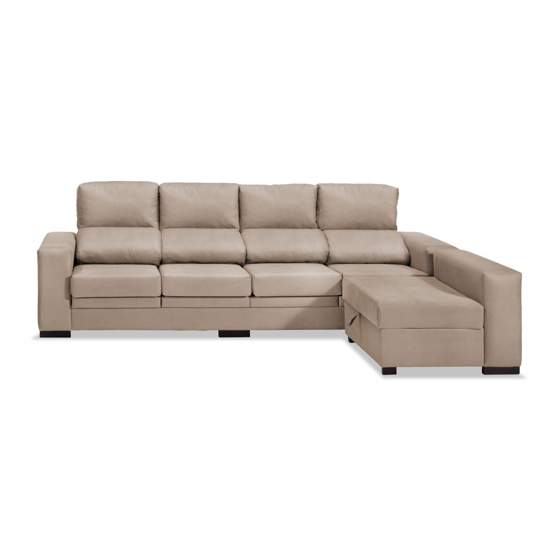 Sof chaise longue 4 plazas beige 270 cm for Sofa 5 plazas chaise longue