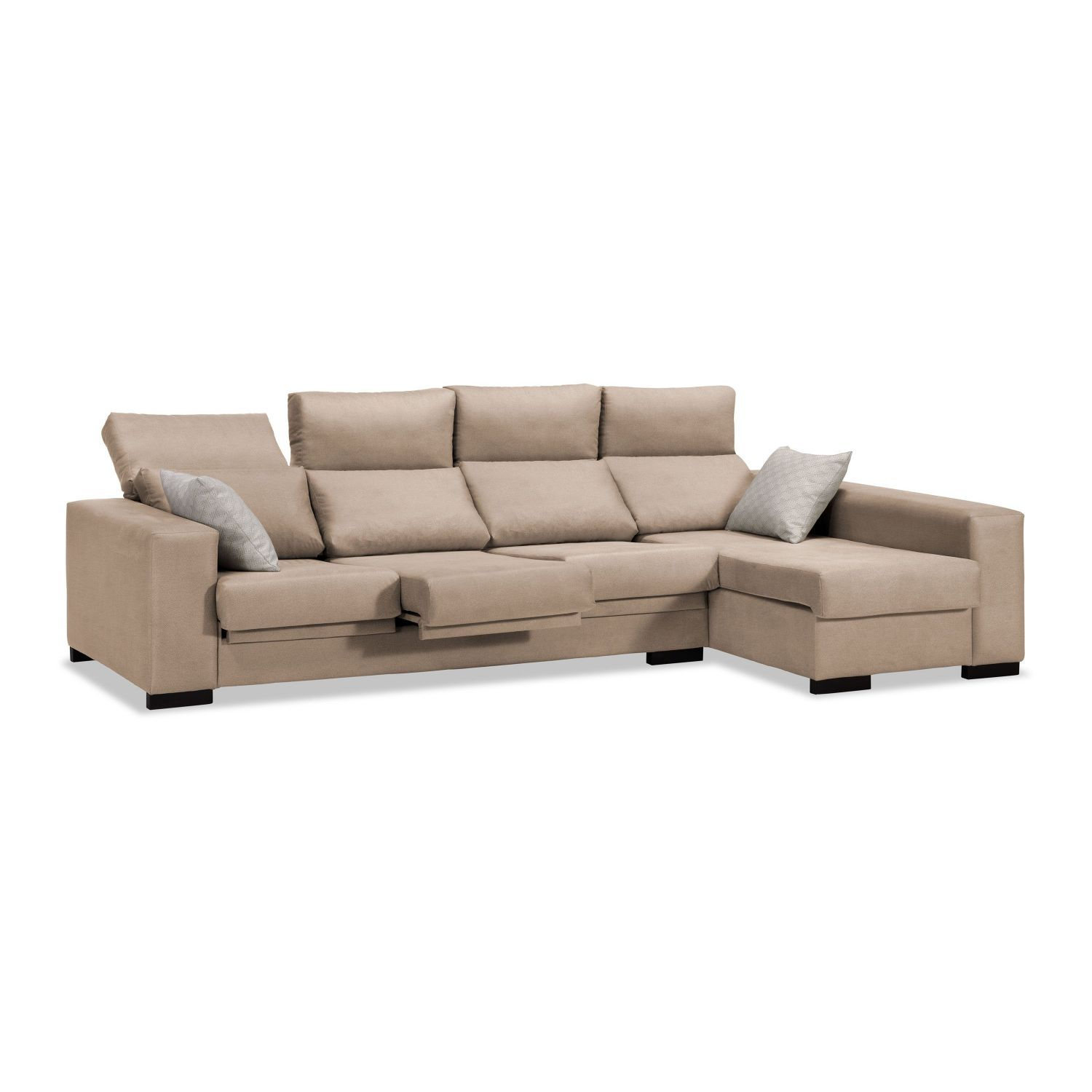 Sofá chaise longue beige reclinable extensible 270 cm.