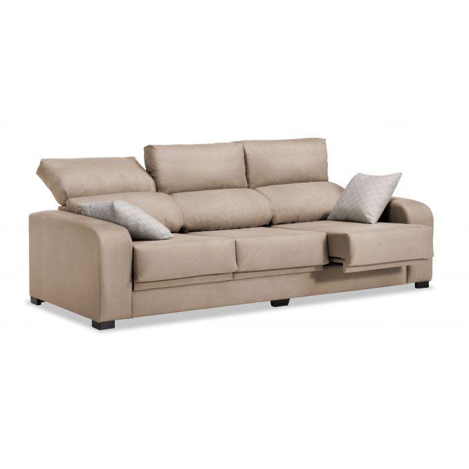 Sofá 3 plazas London reclinable extensible desenfundable beige 220 cm.