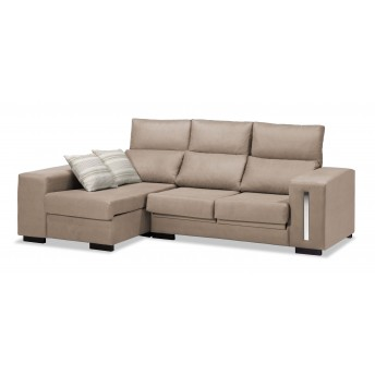 Sofá chaise longue Eko beige reclinable extensible 228 cm.