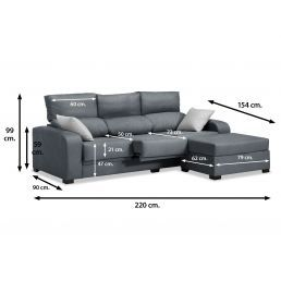 Sofá chaise longue London marengo reclinable extensible 220 cm.