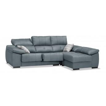 Sofá chaiselongue gris azulado 270 cm.