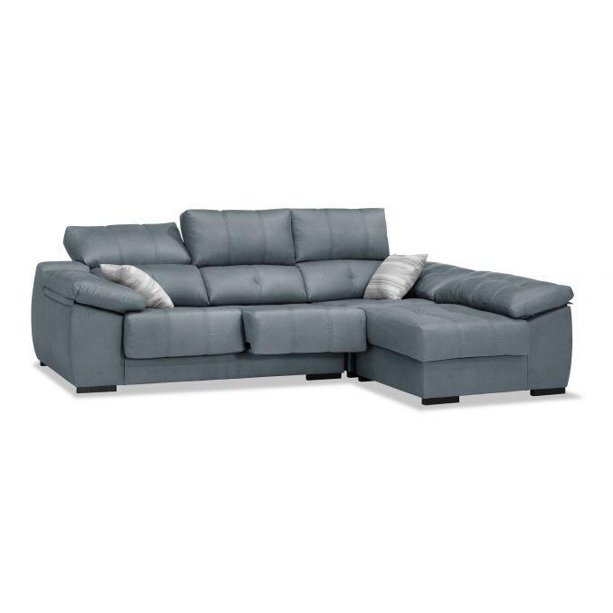 Sofá chaiselongue gris reclinable extensible 260 cm.