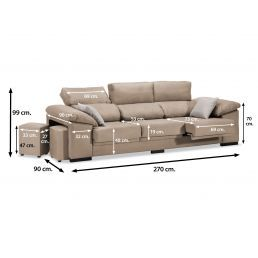 Sofá 3p beige reclinable extensible con dos pufs taburetes 270 cm.