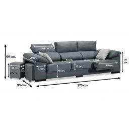 Sofá 3p gris oscuro reclinable extensible con dos pufs taburetes 270 cm.