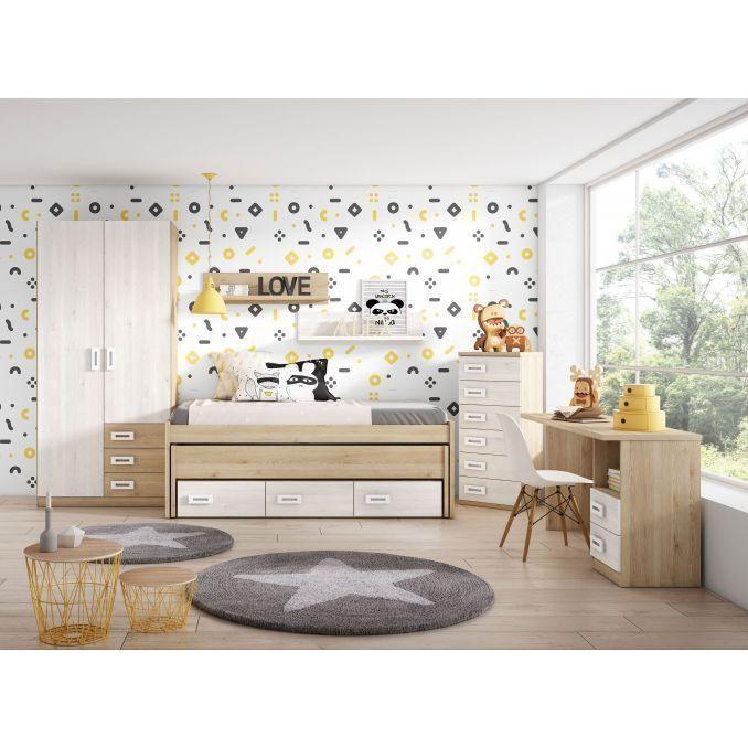 Dormitorio con compacta dos camas y cajones armario y - Armario dormitorio blanco ...