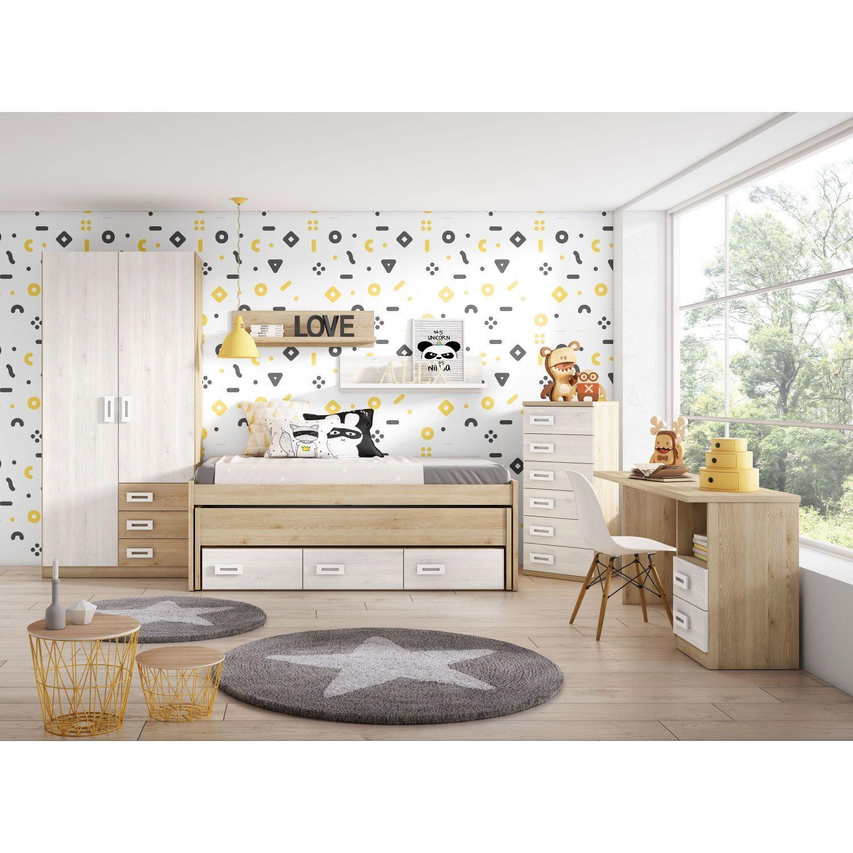 Dormitorio con compacta dos camas y cajones, armario y mesa estudio. Colores pino-blanco