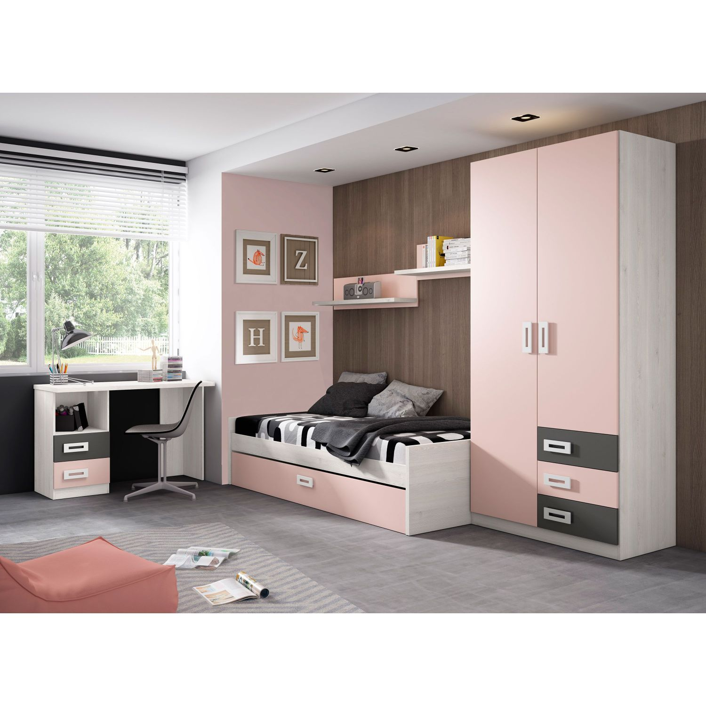 Dormitorio juvenil colores blanco rosa con cama nido for Cama nido con armario