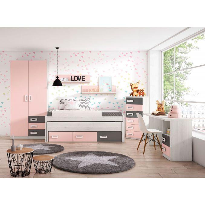 Dormitorio juvenil con compacta dos camas y cajones, armario y mesa es