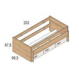 Cama compacta con dos camas y tres cajones en colores pino-blanco