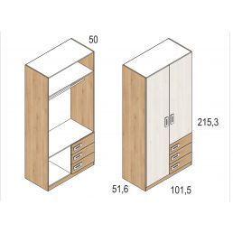 Armario juvenil dos puertas y tres cajones colores pino-blanco