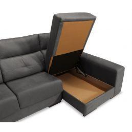 Sofá chaise longue Estrella gris reclinable extensible con dos pufs y arcón abatible. 285 cm.