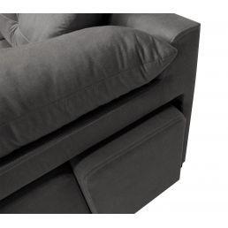 Sofá chaise longue Estrella gris reclinable extensible con dos pufs. 250 cm.