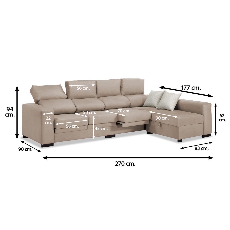 Sof chaise longue 4 plazas beige 270 cm - Medidas de sofas chaise longue ...