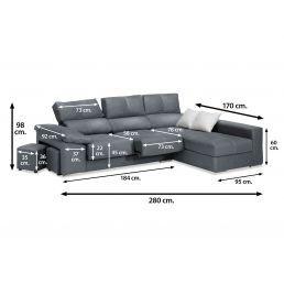 Sofá chaise longue reclinable extensible marengo con 2 taburetes, 280 cm.