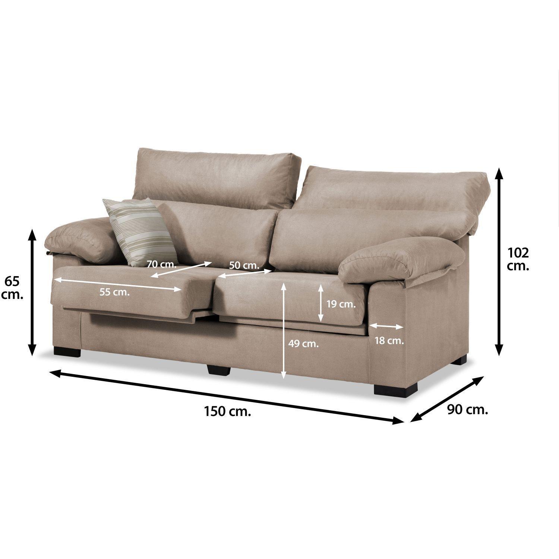 sof lucena 2 plazas beige 150 cm. Black Bedroom Furniture Sets. Home Design Ideas