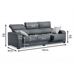 Sofá 3 plazas London reclinable extensible desenfundable marengo 220 cm.